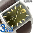 DZ1675 ディーゼル フルタンク クオーツ メンズ 腕時計 DIESEL オリーブ×ブラウン レザーベルト【あす楽対応】