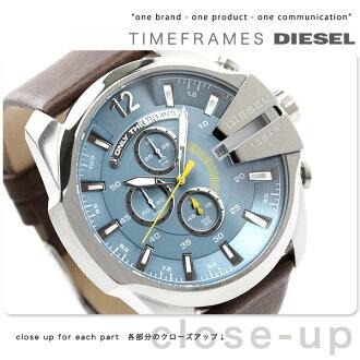 Diesel watches mens chronograph blue x brown leather DIESEL DZ4281