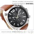 DZ4296 ディーゼル メンズ 腕時計 オーバーフロー クロノグラフ ブラック×ブラウン レザーベルト DIESEL