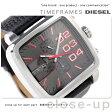 DZ4304 ディーゼル メンズ 腕時計 ダブル ダウン スクエア クロノグラフ グレー×ブラック レザーベルト DIESEL