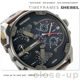 Diesel men's watches chronograph Mister Daddy 2.0 DIESEL DZ7314 quartz movement black x brown leather belt