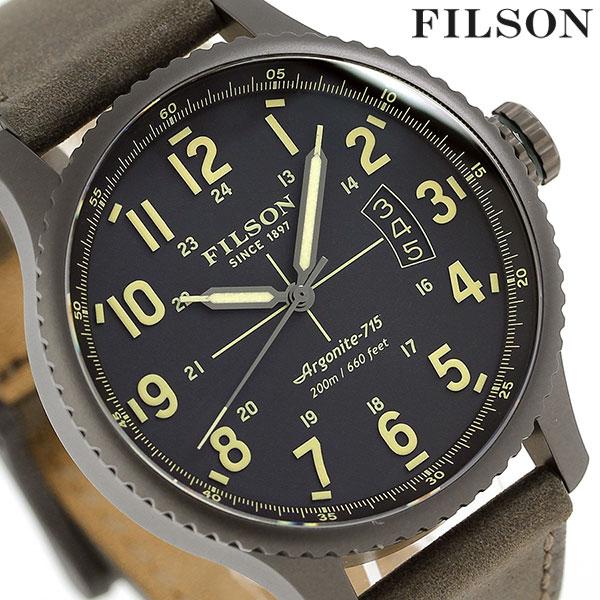 フィルソン マッキーノ フィールド 43mm メンズ 腕時計 20001946 FILSON ブラック×カーキ【対応】 [新品][1年保証][送料無料]