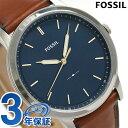 フォッシル ミニマリスト クオーツ メンズ 腕時計 FS5304 FOSSIL ブルー×ブラウン 時計【あす楽対応】