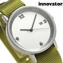 イノベーター ボールド 38mm クオーツ 腕時計 IN00016 Innovator シルバー×カーキ