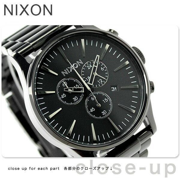 ニクソン A386001 nixon ニクソン セントリー クロノ メンズ 腕時計 オールブラック【あす楽対応】