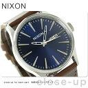 ニクソン セントリー レザー ミディアムサイズ 腕時計 A1051524 NIXON ブルー/ブラウン【あす楽対応】