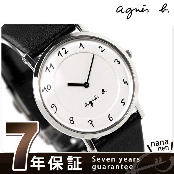 【ペンケース プレゼント♪】アニエスベー agnes b. ユニセックス 腕時計 カーフベルト ホワイト FBRT987【あす楽対応】