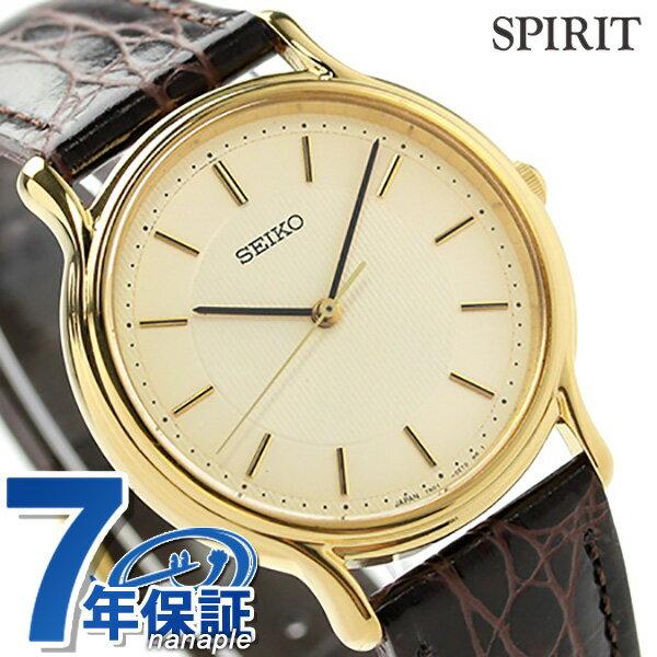 セイコー スピリット クオーツ メンズ 腕時計 SCDP034 SEIKO SPIRIT アイボリー×ブラウン レザーベルト [新品][7年保証][送料無料]