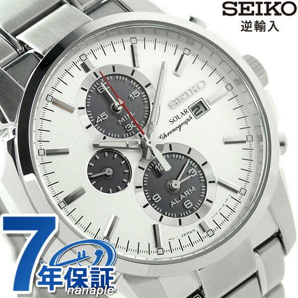 セイコー 逆輸入 海外モデル ソーラー クロノグラフ SSC083P1(SSC083PC) SEIKO 腕時計 シルバー [新品][7年保証][送料無料]