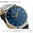 スカーゲン クロノグラフ アンカー メンズ クオーツ SKW6105 SKAGEN 腕時計 ブルー×ブラック レザーベルト【あす楽対応】