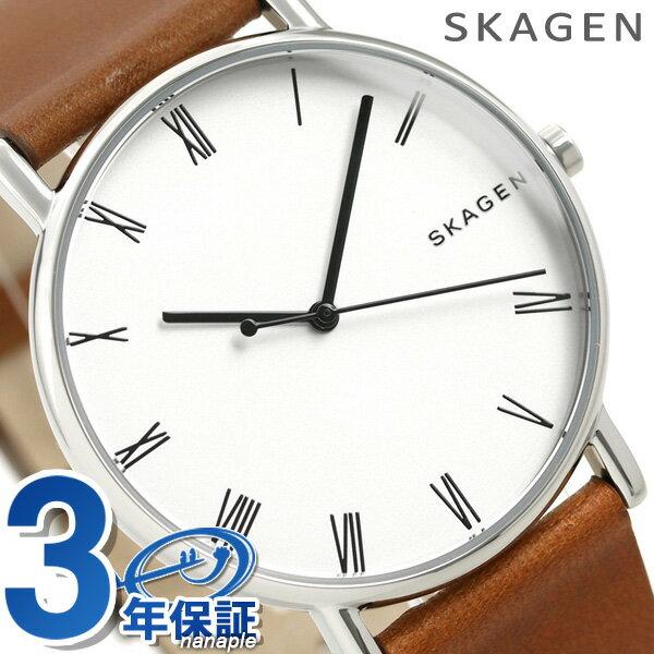 スカーゲン 時計 メンズ シグネチャー 40mm 革ベルト SKW6427 シルバー×ブラウン SKAGEN 腕時計【あす楽対応】