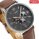 タイメックス 腕時計 メンズ サウスビュー マルチ 41mm アナログ TW2T35000 TIMEX ブラック×ダークブラウン 革ベルト 時計【あす楽対応】