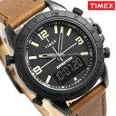 タイメックス 腕時計 メンズ パイオニアコンボ 44mm アナデジ TW4B17400 TIMEX ブラック×ブラウン 革ベルト 時計【あす楽対応】