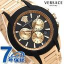 ヴェルサーチ 時計 メンズ 腕時計 キャラクター クロノグラフ スイス製 VEM800318 VERSACE ブラック×ピンクゴールド 新品