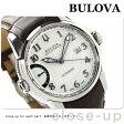ブローバ アキュトロン キャリブレーター 歩度調整 63B160 BULOVA メンズ 腕時計 自動巻き ホワイト×ブラウン レザーベルト