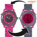 colore TWINS カラーツインズ リバーシブルウォッチ 腕時計 YS-64 CLASSIQUE ピンク×グレー