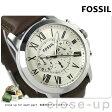 フォッシル グラント クロノグラフ メンズ 腕時計 FS4735 FOSSIL クオーツ アイボリー×ブラウン レザーベルト【あす楽対応】