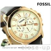 フォッシル グラント クロノグラフ クオーツ メンズ 腕時計 FS4991 FOSSIL クリーム×ダークブラウン【あす楽対応】