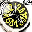 ガガミラノ 手巻き 48MM 5010.12S スイス製 マヌアーレ レザーベルト 腕時計 GaGa MILANO MANUALE ブラック×イエロー
