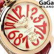 ガガミラノ 手巻き 48MM 5011.10S 18K PVD スイス製 マヌアーレ レザーベルト 腕時計 GaGa MILANO MANUALE クリーム×レッド