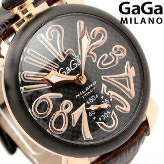 Gaga Milano hand rolls 48 MM 5014.01 S made in Switzerland manual leather belt watch GaGa MILANO MANUALE PVD carbon black x Brown