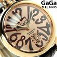 ガガミラノ 手巻き 5011.11S スイス製 マヌアーレ 48MM 18K PVD レザーベルト 腕時計 GaGa MILANO MANUALE【あす楽対応】