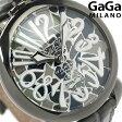 ガガミラノ 手巻き 48MM 5012.MOS01S スイス製 マヌアーレ レザーベルト 腕時計 GaGa MILANO モザイクオリーブ×メタリックグレー