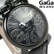 ガガミラノ クオーツ 40MM 5022.1 マヌアーレ レザーベルト 腕時計 GaGa MILANO ブラックシェル