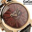 ガガミラノ クオーツ 5085.1 スリム 46MM 18K PGコーティング レザーベルト 腕時計 GaGa MILANO SLIM【あす楽対応】