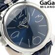 ガガミラノ クオーツ 46MM 5090.04 スイス製 マヌアーレ シン レザーベルト 腕時計 GaGa MILANO ブルー