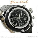 グラムロック マイアミ 46mm クロノグラフ ダイヤモンド 腕時計 GR11123 Glam Rock クオーツ ブラック レザーベルト