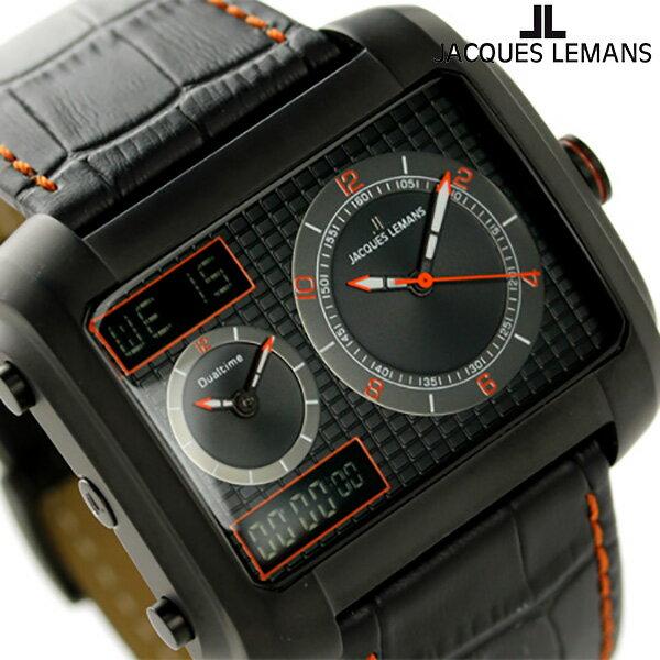 ジャックルマン マドリード GMT メンズ 腕時計 1-1708E JACQUES LEMANS オールブラック×オレンジ [新品][2年保証][送料無料]