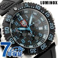ルミノックスネイビーシールズスチールカラーマーククロノグラフ腕時計ブラック×ブルーラバーベルトLUMINOX3183