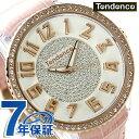 手表 - テンデンス グラム 47 クリスタル クオーツ 腕時計 TY430141 TENDENCE ホワイト×ピンク 時計