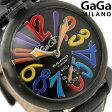 ガガミラノ 手巻き 48MM 5012.03S スイス製 マヌアーレ レザーベルト 腕時計 GaGa MILANO MANUALE オールブラック×マルチカラー【あす楽対応】