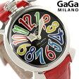 ガガミラノ クオーツ 40MM 5020.2 マヌアーレ レザーベルト 腕時計 GaGa MILANO MANUALE ACCIAIO ブラック×マルチカラー