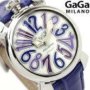 ガガミラノ クオーツ 40MM 5020.3 マヌアーレ レザーベルト 腕時計 GaGa MILANO MANUALE ACCIAIO ホワイトシェル×ブルー