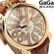ガガミラノ クオーツ 40MM 5021.2 マヌアーレ レザーベルト 腕時計 GaGa MILANO PLACCATO ORO ホワイトシェル×ブラウン