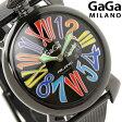 ガガミラノ クオーツ 46MM 5082.1 マヌアーレ メタルベルト 腕時計 GaGa MILANO MANUALE SLIM オールブラック×マルチカラー【あす楽対応】