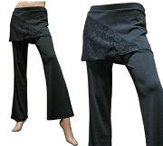 ダンスウェア スカート付きストレッチパンツ 美脚ブーツカットパンツ スカッツ ONSAパーティー・衣装・フォーマル・ヨガ・エクサイズ・スポーツ・ゴルフ・等に