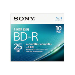 Sony 錄影機 BD-r 單面單層 25 GB 4 x 白色可列印 10 包 (10BNR1VJPS4) 估計的存貨 =-