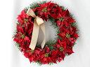クリスマスリース 玄関 造花 ポインセチア x'masリース W-169 リース アートフラワー