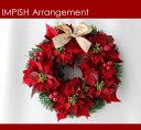 完売必至! クリスマスリース W-286 32cm 造花 壁掛け x'masリース リース ポインセ...