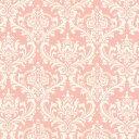 ダマスク柄 生地  6991-27 LIGHT SALMON PINK ライトサーモンピンク damask アラベスク 生地 布 生成り オックス 生地 綿100% 110cm幅 カルトナージュ生地 nassen