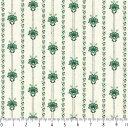 フラワーストライプ 5421-40 グリーン 花柄 生地 ストライプ 緑 グリーン 10cm単位 やや厚手 生成りオックス生地 綿100% 110cm布 プロヴァンス風 ボタニカル カルトナージュ 手芸 フランス アンティーク 生地 復刻 ハンドメイド