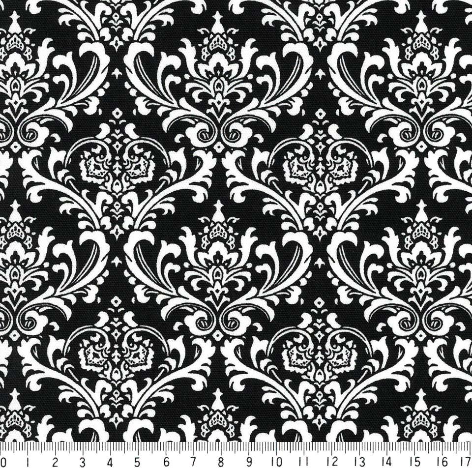 ダマスク柄 生地  6991-99 BLACK ブラック シロクロモノトーン damask アラベスク 生地 布 生成り オックス 生地 綿100% 110cm幅 カルトナージュ生地 nassen