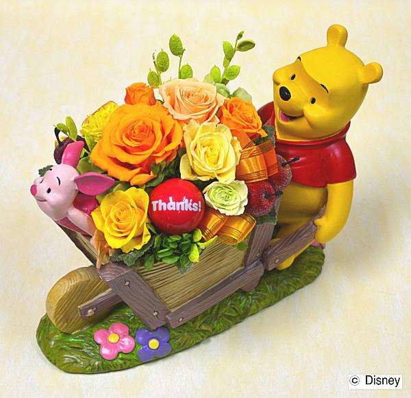プリザーブドフラワーディズニーキャラクタープーさん&ピグレット誕生祝い、母の日、父の日、敬老の日、結婚祝い
