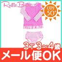 【ポイントもれなく18倍】Ruffle Butts ラッフルバッツ ロングラッシュガード Neon Pink Striped Polka Long Sleeve 3歳~4歳 女の子用 UPF50+/水着/ロングスリーブ/ベビー水着/キッズ水着【あす楽対応】【ナチュラルリビング】