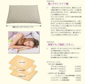 Sawadaオリジナル睡眠健康指導士が開発した安眠まくらVer.4国産麻わた入りリネンカバー付中身:エラストマーパイプ