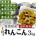 無肥料栽培・無施肥・無漂白れんこん3kg【佐賀県産・送料無料】